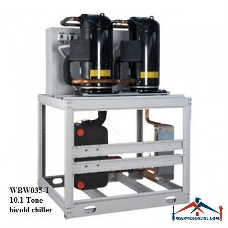 چیلر تراکمی آبی اسکرال صنعتی بی کلد10.1تن مدل WBW035-1