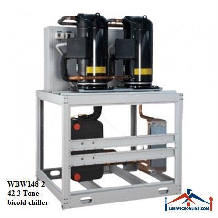 چیلر تراکمی آبی اسکرال صنعتی بی کلد42.3تن مدل WBW148-2
