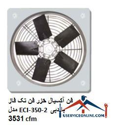 فن آکسیال خزر فن تک فاز مدل ECI-350-2 با دبی 3531 cfm