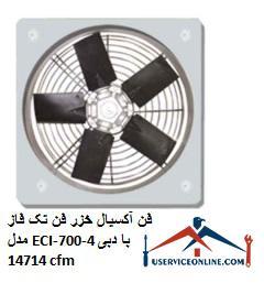 فن آکسیال خزر فن تک فاز مدل ECI-700-4 با دبی 14714 cfm