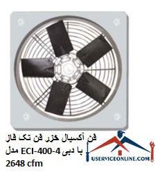 فن آکسیال خزر فن تک فاز مدل ECI-400-4 با دبی 2648 cfm