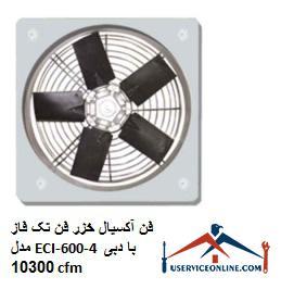 فن آکسیال خزر فن تک فاز مدل ECI-600-4 با دبی 10300 cfm
