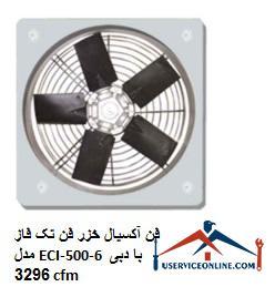فن آکسیال خزر فن تک فاز مدل ECI-500-6 با دبی 3296 cfm