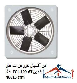 فن آکسیال خزر فن سه فاز مدل ECI-120-6T با دبی 46615 cfm