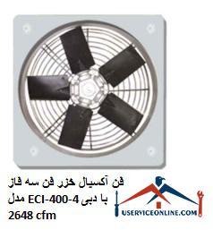 فن آکسیال خزر فن سه فاز مدل ECI-400-4 با دبی 2648 cfm